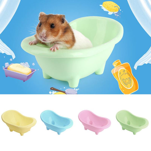 1pc Cute Mini Small ABS Plastic Pet Hamsters Bathtub Bathing Small Mouse Bathroom Sand Bath Basin Toy Cage Decor