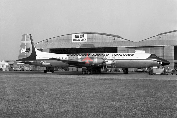 N124SW, Canadair CL-44D,  Seaboard World Airlines, Heathrow