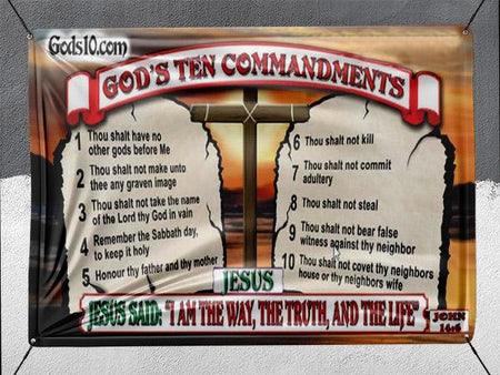 10 Commandments Original Jesus Said I Am The Way - Banner