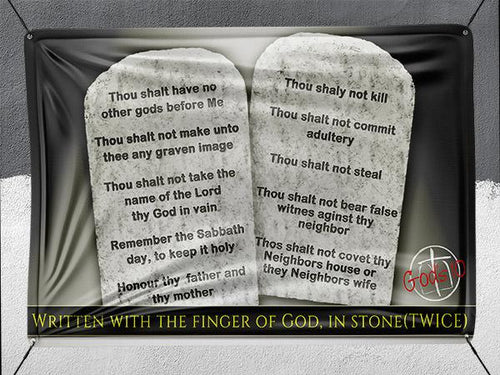 10 Commandments Written With the Finger of God Stone Tablets - Banner