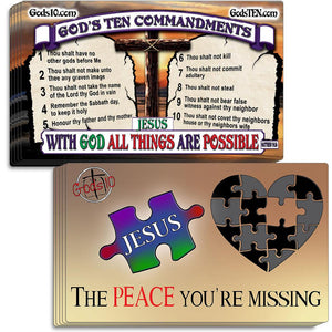 Ten magnet (5+5) bundle of 10 Commandments and Peace You're Missing Small Magnets