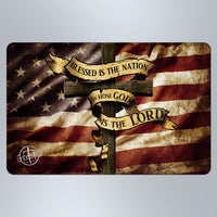 Blessed Is The Nation Dark American Flag - Small Magnet