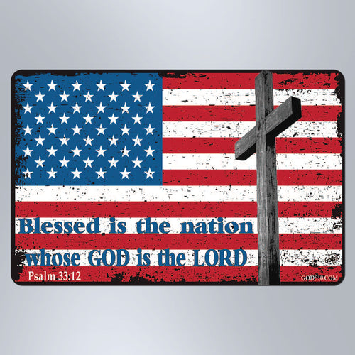 Blessed Is The Nation American Flag - Small Magnet