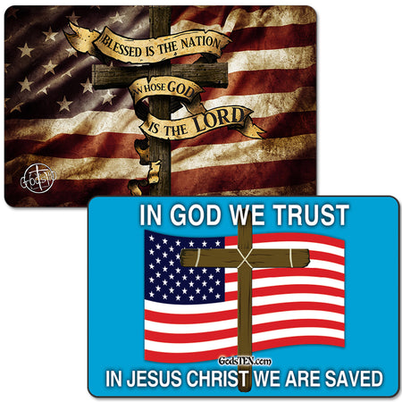 Blessed Nation Dark Flag AND In God We Trust Flag Small Magnet Bundle (LIMIT 5 PER PERSON)