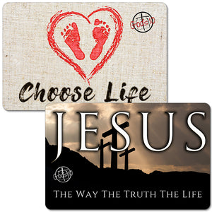 Jesus With 3 Crosses and Choose Life Baby Footprints Small Magnet Bundle (LIMIT 5 PER PERSON)