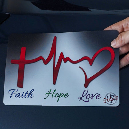 Faith Hope Love Heartbeat - Small Magnet