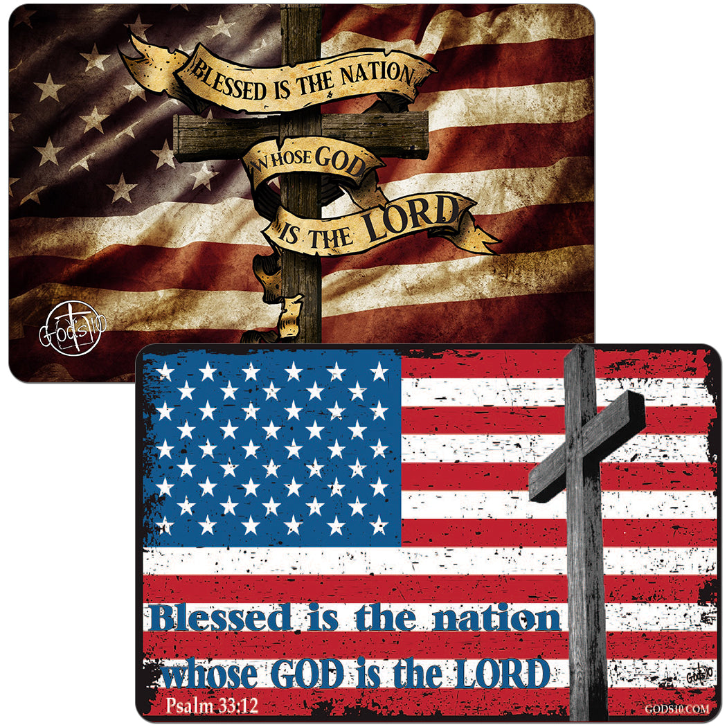 BUY ONE, GET ONE FREE!!  JUST IN TIME FOR MEMORIAL DAY AND JULY 4TH!!  Blessed Nation Dark Flag & our Red, White & Blue Flag Small Magnet Bundle