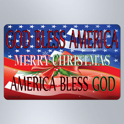 Christmas God Bless America Merry Christmas - Small Magnet