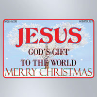 Jesus God's Gift To The World With Snow - Small Magnet