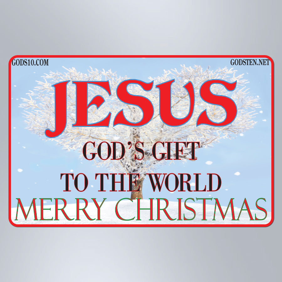 Christmas Jesus God's Gift To The World With Snow - Small Magnet