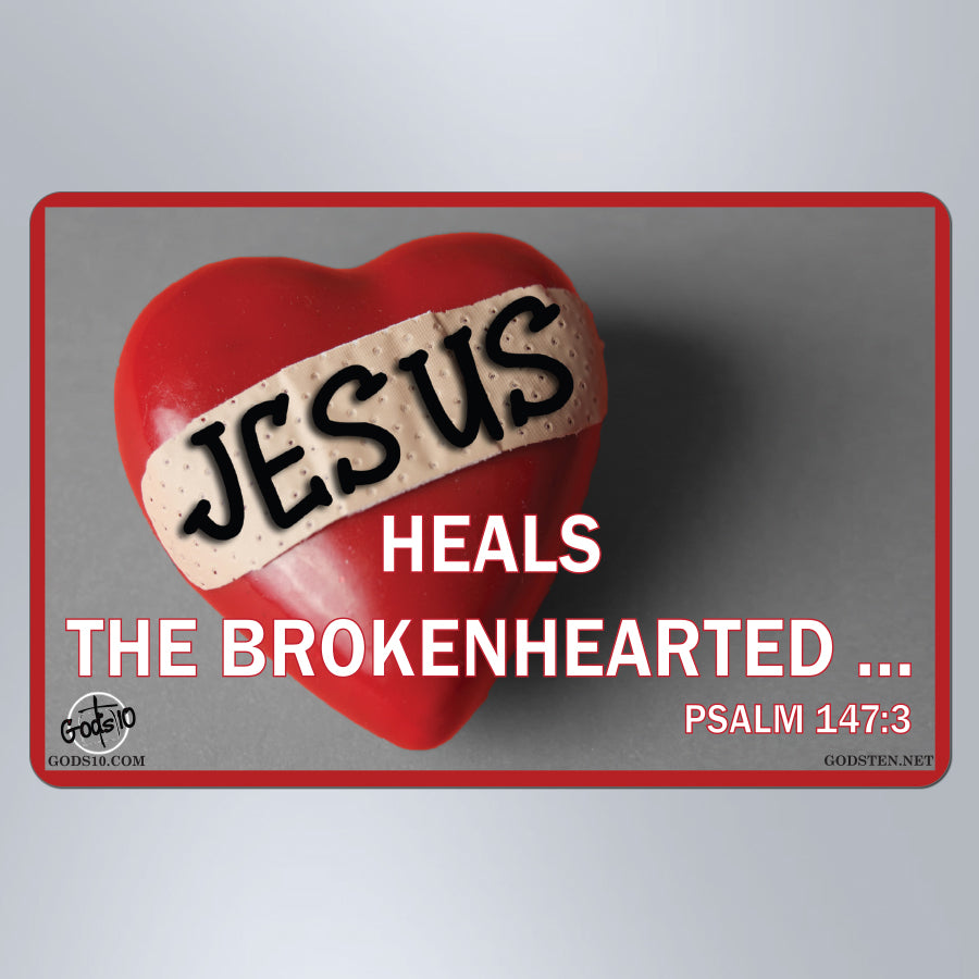Jesus Heals The Brokenhearted - Small Magnet