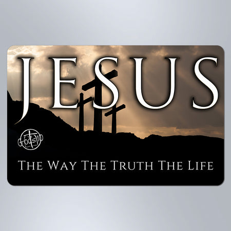 Jesus The Way The Truth The Life 3 Crosses - Small Magnet