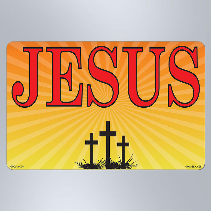 Jesus Sunburst 3 Crosses - Small Magnet