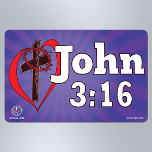 John 3:16 Purple - Large Magnet