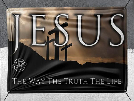 Jesus The Way The Truth The Life 3 Crosses - Banner