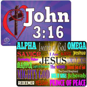 John 3:16 Purple & Alpha Omega Small Magnet Bundle