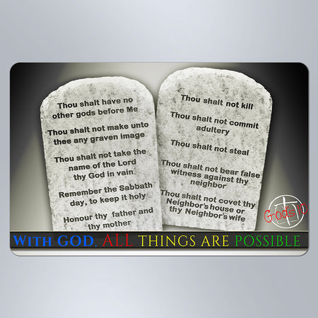 10 Commandments With God, All Things Are Possible Stone Tablets - Small Magnet