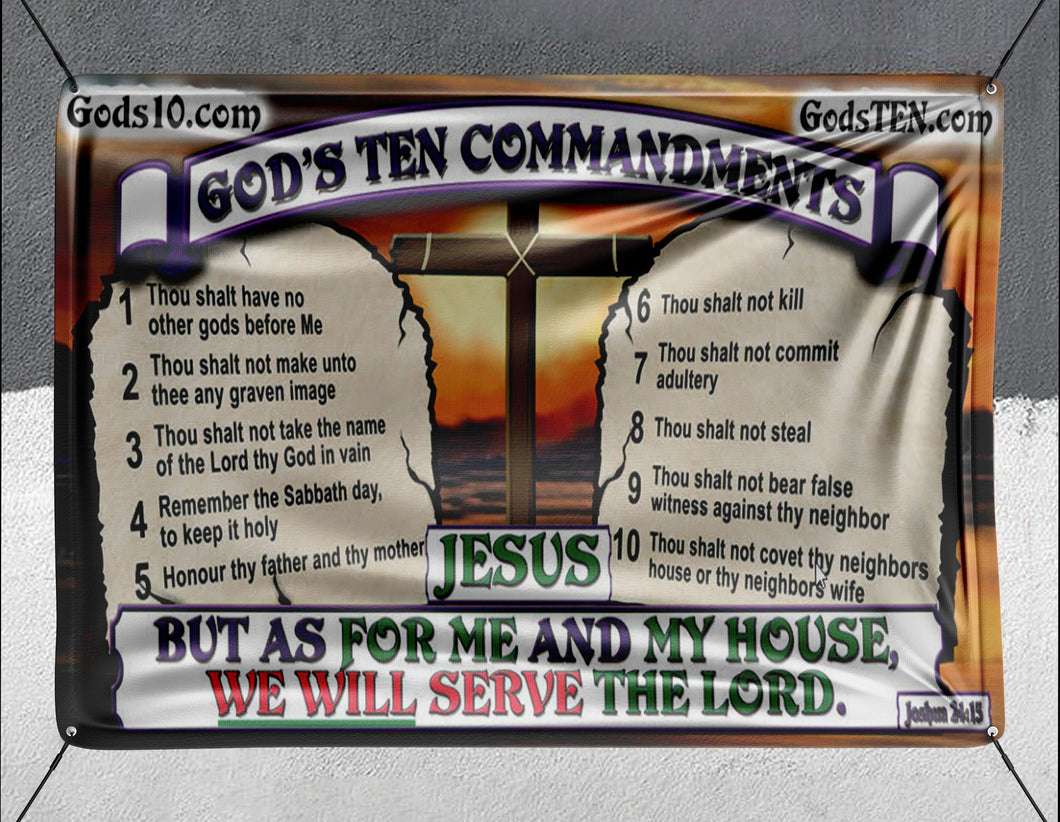 10 Commandments Original As For Me And My House - Banner