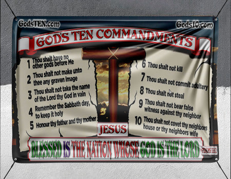 10 Commandments Original Blessed Is The Nation - Banner