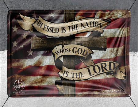 God Is The Lord With American Flag - Banner