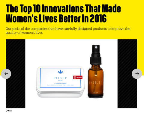 FORIA Pleasure, Sexual Health, Fast Company, Women's Innovation, Cannabis Lube, Cannabis pain relief