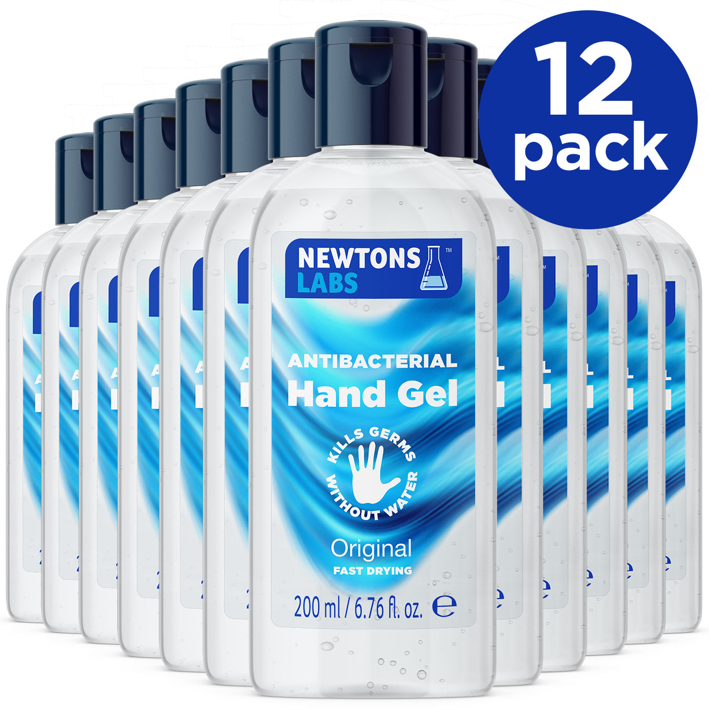 12 Pack - Antibacterial Hand Gel & Sanitiser - 200ml
