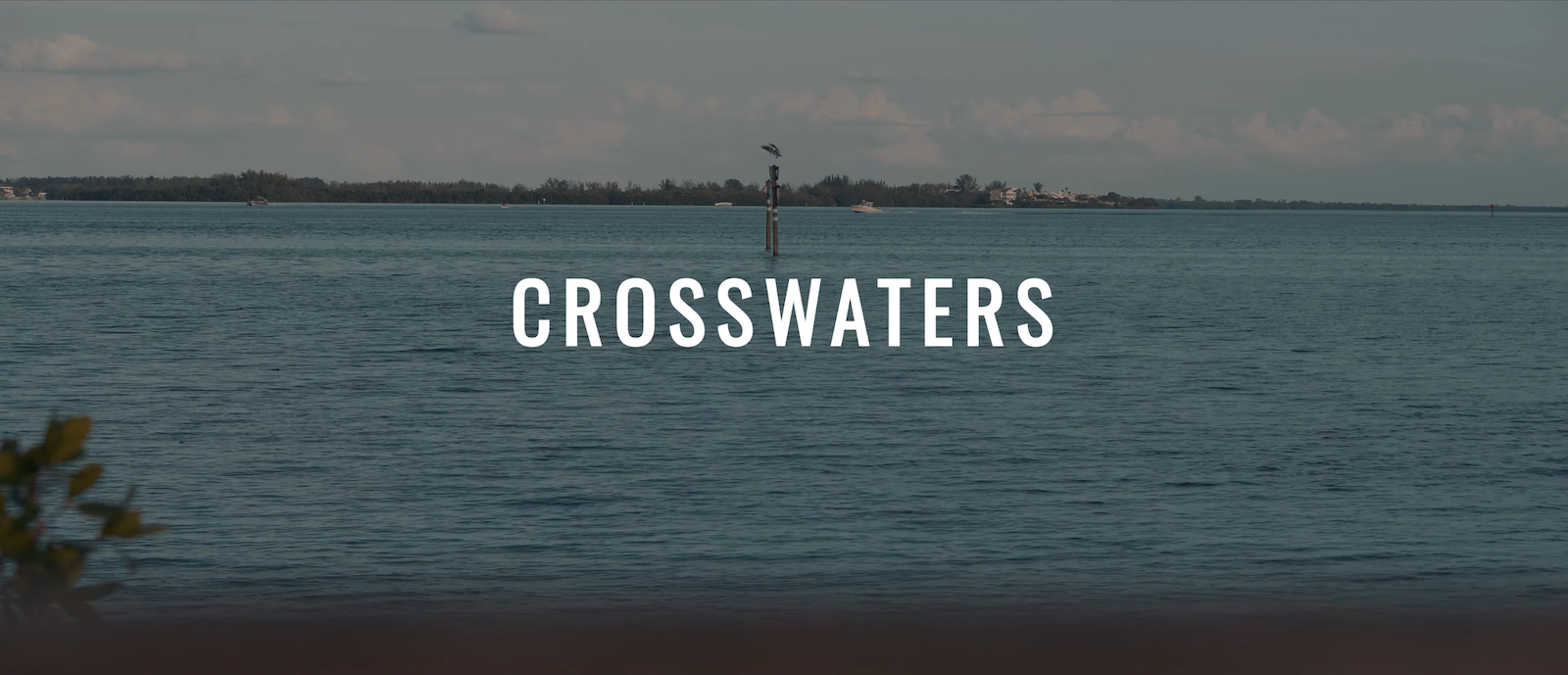 "Image of a lake from the perspective of someone right above the water. There is a shoreline in the distance. The words ""CROSSWATERS"" is centered on the image in white."