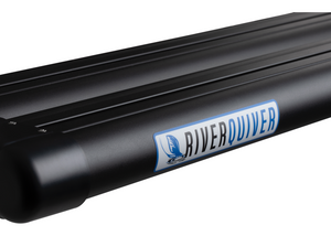 "Close up of the river quiver logo on the side of the black metal of the 4-banger river quiver's rod casing. The logo says ""river"" in black text and ""quiver"" in blue text with a matching blue image of fishing bait hitting the water. The background is white."