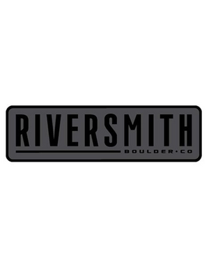 Sticker says Riversmith in large text and Boulder CO in smaller text. Black text over a grey background surrounded by a matching black band.