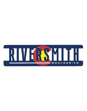 "Sticker says Riversmith in large text and Boulder CO in smaller text. The text is dark blue. Behind the text is mostly white with the yellow circle surrounded by red ""C"" from the Colorado state flag."