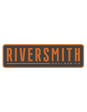 Sticker says Riversmith in large text and Boulder CO in smaller text. Orange text over a dark grey background surrounded by a matching orange band.