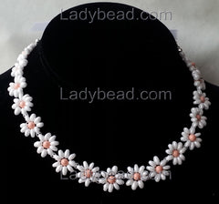 Coral Pink Pearl Flower Choker Crown