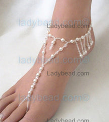 Fringe Pearl and Crystal Barefoot Sandals