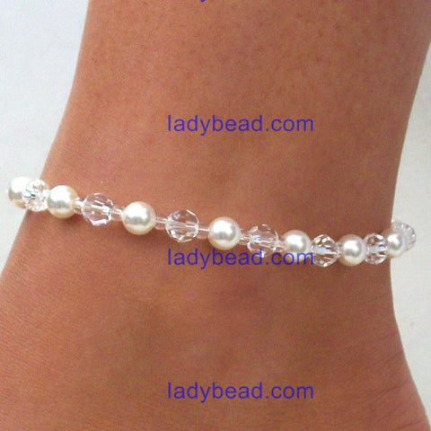 Swarovski Pearl Clear Crystal Anklet USA #A17 - Ladybead Beach Bride Jewelry and More!! USA
