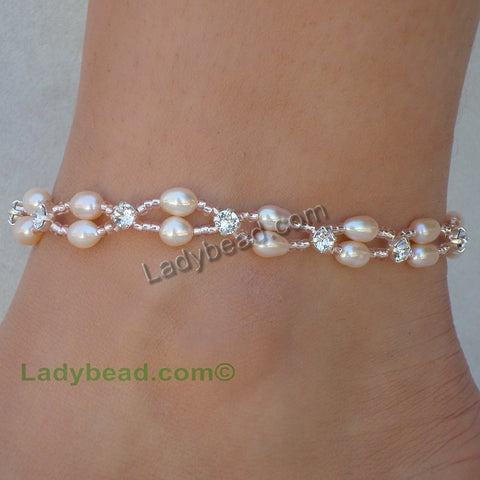 Blush Freshwater Pearl Rhinestone Anklet Closeout #A41 - Ladybead Beach Bride Jewelry and More!! USA
