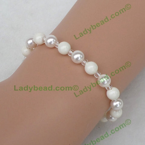 Bracelet Pearl White Ivory #B54 - Ladybead Beach Bride Jewelry and More!! USA