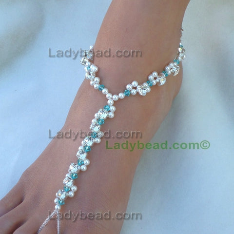 Rhinestone Sandals Turquoise Wave #TLR43 - Ladybead Beach Bride Jewelry and More!! USA