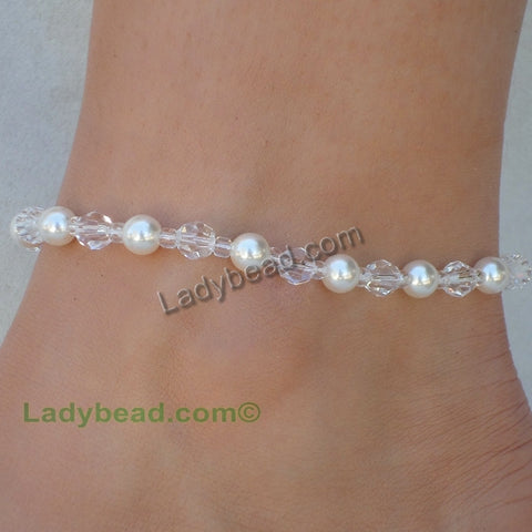Crystal Pearl Anklet Made in the USA #A16 - Ladybead Beach Bride Jewelry and More!! USA