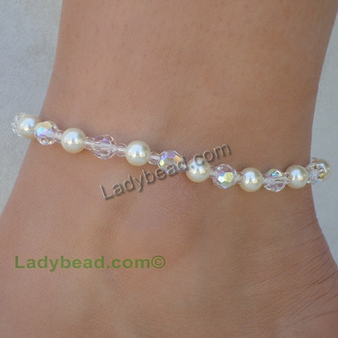 Crystal Anklet Swarovski AB Made in USA #A17AB - Ladybead Beach Bride Jewelry and More!! USA