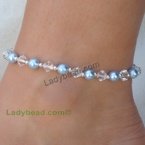 Sterling Silver Custom Anklet Ladybead USA #A20 - Ladybead Beach Bride Jewelry and More!! USA - 1