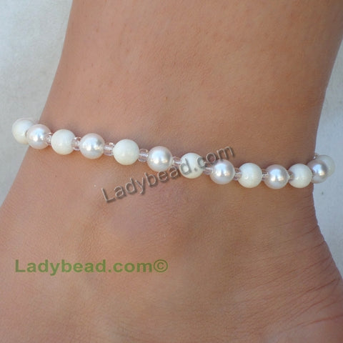 Anklet Ivory and White Pearl Swarovski USA  #A23 - Ladybead Beach Bride Jewelry and More!! USA - 1