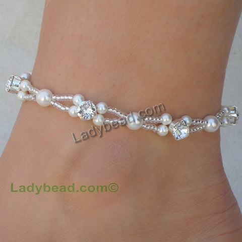 Anklet Pearl Rhinestone Swarovski #A27 - Ladybead Beach Bride Jewelry and More!! USA - 1