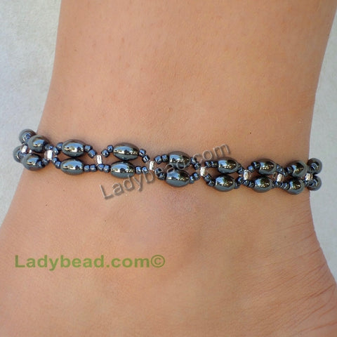 Hematite Double Strand Anklet #A42 USA - Ladybead Beach Bride Jewelry and More!! USA