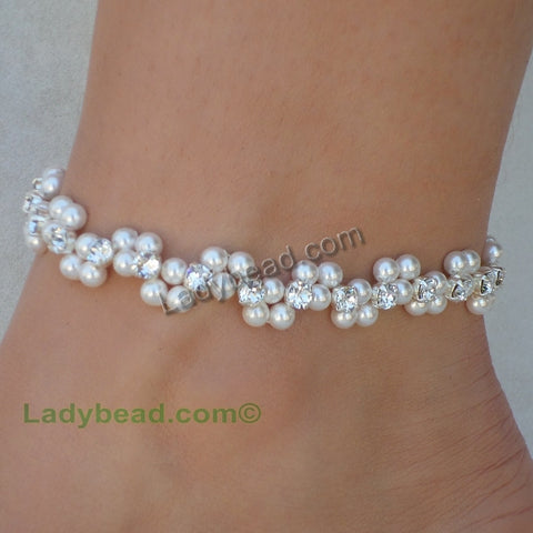 Rhinestone Wave Anklet USA #A8 - Ladybead Beach Bride Jewelry and More!! USA