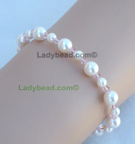 Pearl Vintage Rose Bracelet #B22 - Ladybead Beach Bride Jewelry and More!! USA