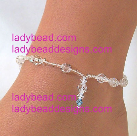 Anklet Swarovski Crystal Touch of Blue #A19 - Ladybead Beach Bride Jewelry and More!! USA