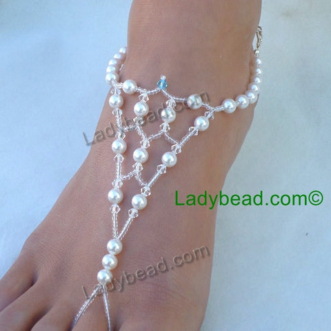 Barefoot Sandals Beach Wedding Jewelry #FJ163 - Ladybead Beach Bride Jewelry and More!! USA - 1