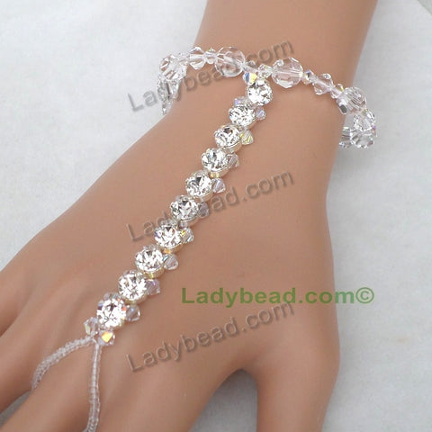Hand Jewelry Bracelet Rhinestone Crystal #HJ20 - Ladybead Beach Bride Jewelry and More!! USA