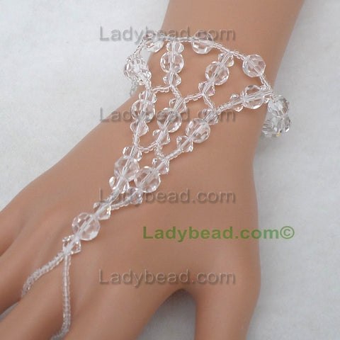 #HJ400 Clear Crystal Lace Hand Bracelet - Ladybead Beach Bride Jewelry and More!! USA