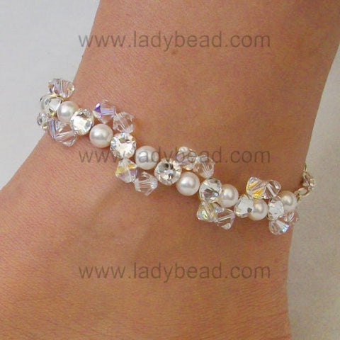 Rhinestone Pearl Crystal Anklet #A7 USA - Ladybead Beach Bride Jewelry and More!! USA